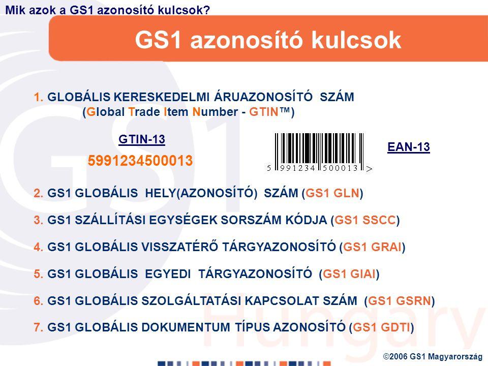 GS1 Vonalkódok Globális szabványok automatikus azonosításhoz Gyors, pontos elektronikus leolvasás az ellátási lánc valamennyi pontján A teljes elosztási lánc hatékonyságát javítja GS1 Azonosító kulcsok, GS1 prefixek használatához fizikai megjelenítéséhez hozták létre, amelyekre és globális adat- és alkalmazás szabványok épülnek Nyitott és zárt rendszerben egyaránt alkalmazható A kód a világon bárhol azonosítható Alapja az azonosító számsor – a GS1 azonosító kulcsok Miért is annyira sikeres a vonalkódokok.