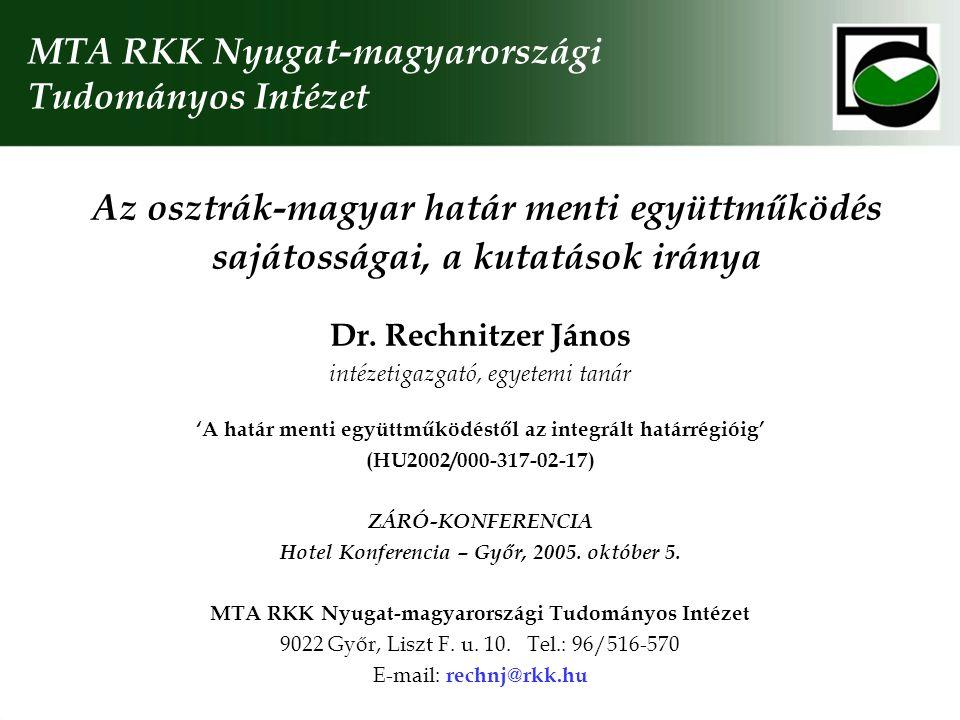 Példa egy lehetséges együttműködésre: Bécs-Pozsony-Győr, mint tudásrégió Egymás megismerése; bemutatkozás és kommunikációs programok indítása Közös konferencia a makrorégió helyzetéről Európában és a lehetséges felsőoktatási együttműködésekről Kutatási program a tudás-technológia régió fejlődési pályájának folyamatos teszteléséről Oktatói csere rendszerének kidolgozás (graduális, posztgraduális és doktori képzésben) Hallgatói mobilitás ösztönzés, néhány meghatározó képzési terület (ág) oktatási programjának összevetése és kölcsönös elismerése Kutatási térkép; lehetséges közös kutatási irányok feltárása és együttes pályázatok kidolgozása Szervezeti keretek megteremtése; Rektorok Tanácsa, együttműködést segítő titkárság, folyamatos tájékoztatás, nyilvánosság