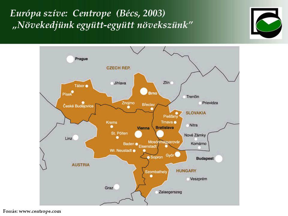 """Európa szíve: Centrope (Bécs, 2003) """"Növekedjünk együtt-együtt növekszünk"""" Forrás: www.centrope.com"""