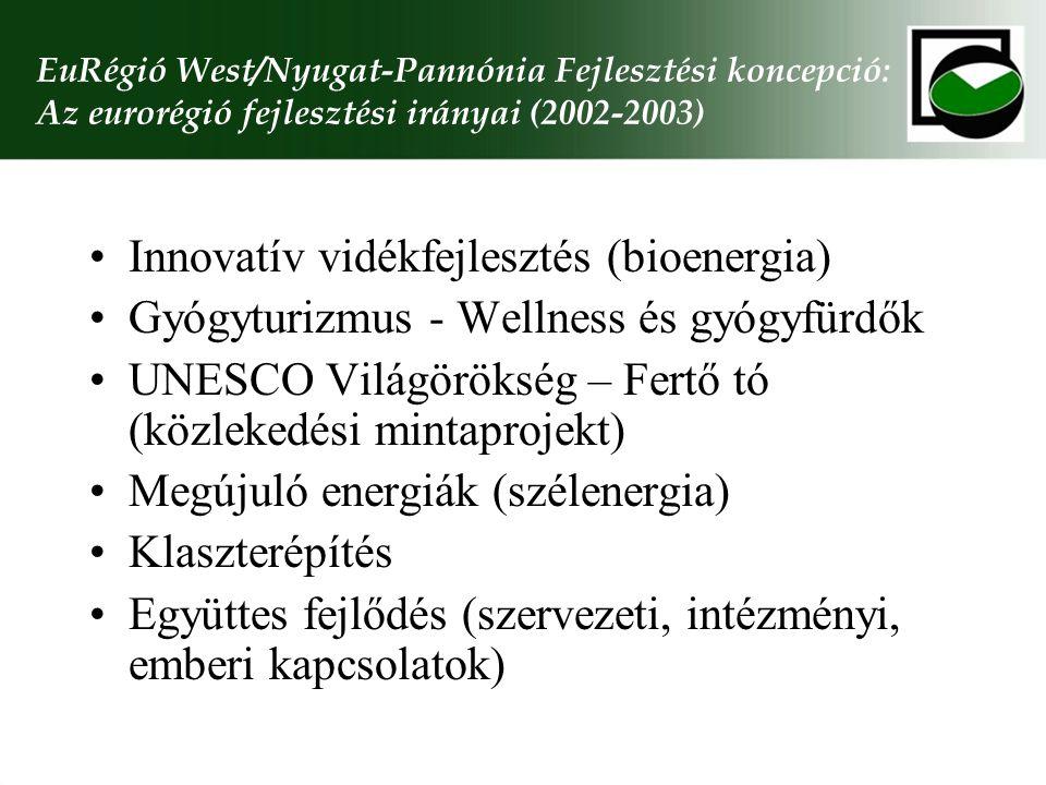 EuRégió West/Nyugat-Pannónia Fejlesztési koncepció: Az eurorégió fejlesztési irányai (2002-2003) Innovatív vidékfejlesztés (bioenergia) Gyógyturizmus