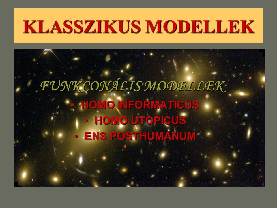 KLASSZIKUS MODELLEK FUNKCONÁLIS MODELLEK HOMO INFORMATICUSHOMO INFORMATICUS HOMO UTOPICUSHOMO UTOPICUS ENS POSTHUMANUMENS POSTHUMANUM
