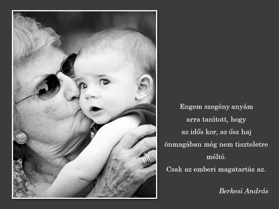 Engem szegény anyám arra tanított, hogy az idős kor, az ősz haj önmagában még nem tiszteletre méltó.