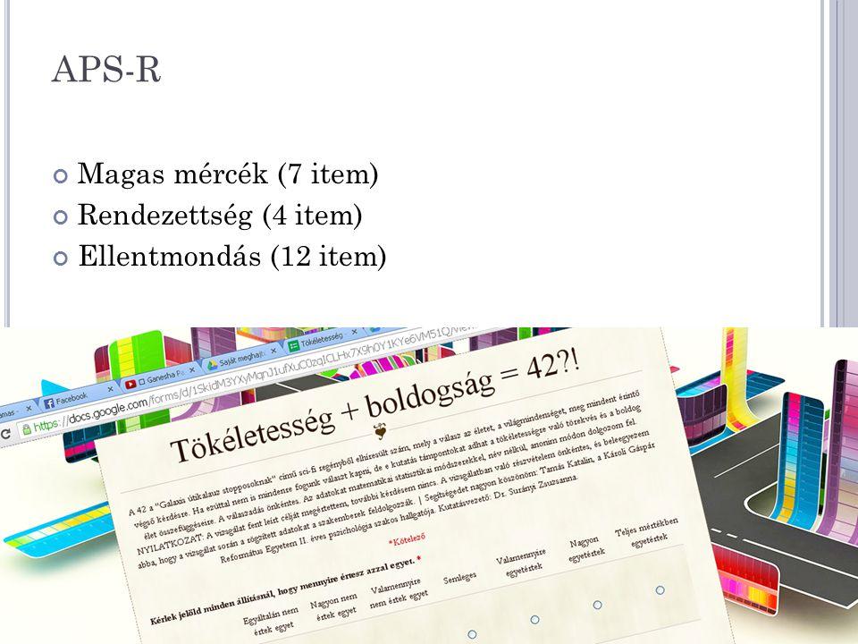 APS-R Magas mércék (7 item) Rendezettség (4 item) Ellentmondás (12 item)