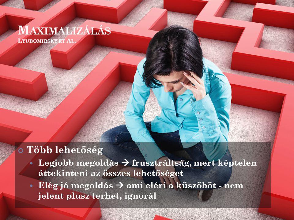M AXIMALIZÁLÁS L YUBOMIRSKY ET A L. Több lehetőség Legjobb megoldás  frusztráltság, mert képtelen áttekinteni az összes lehetőséget Elég jó megoldás