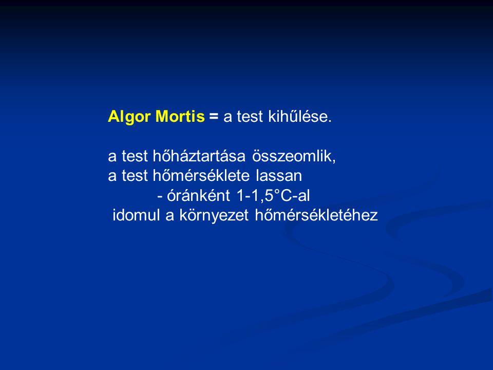Algor Mortis = a test kihűlése. a test hőháztartása összeomlik, a test hőmérséklete lassan - óránként 1-1,5°C-al idomul a környezet hőmérsékletéhez