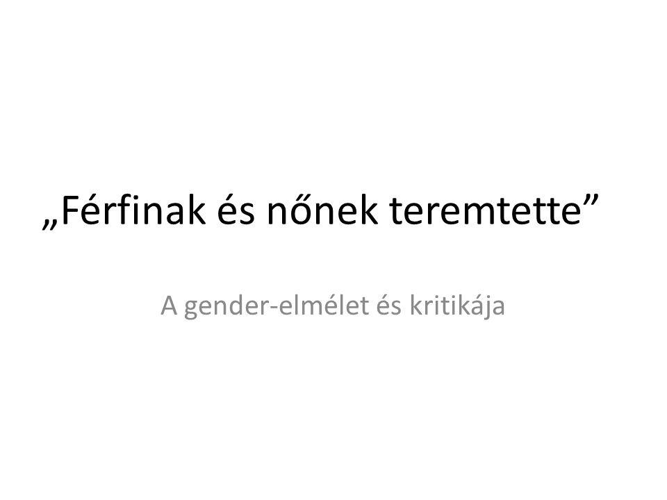 A gender-elmélet fogalma Az állampolgári egyenlőség nevében megkérdőjelezi a nemi különbözőség értelmét.