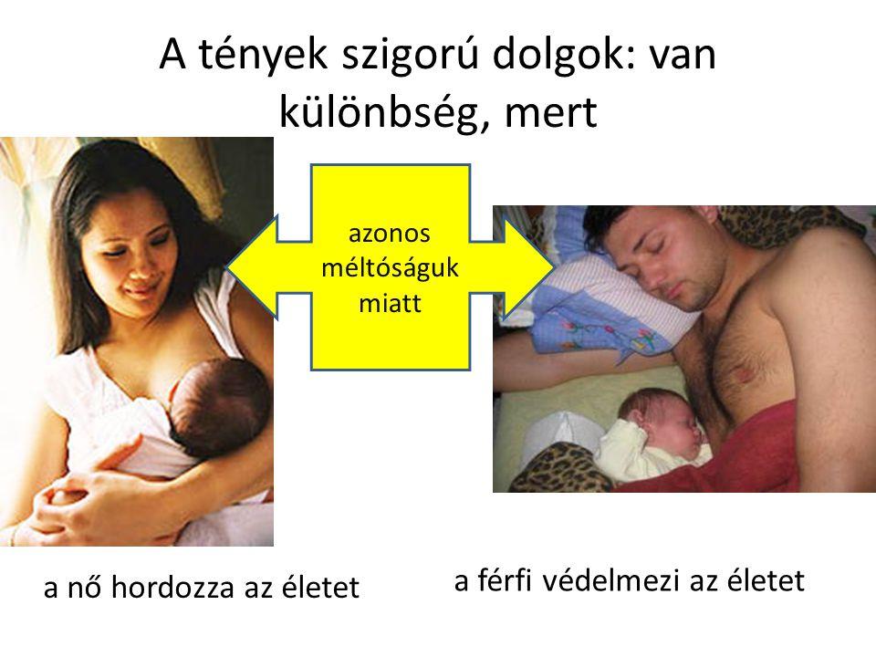 A tények szigorú dolgok: van különbség, mert a nő hordozza az életet a férfi védelmezi az életet azonos méltóságuk miatt