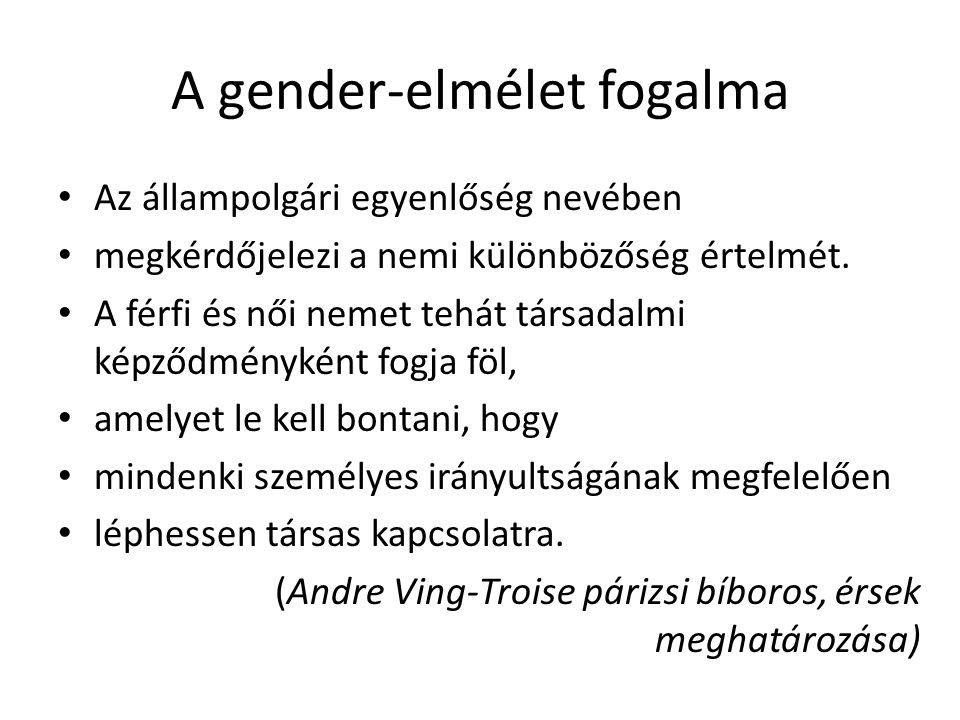 A gender-elmélet fogalma Az állampolgári egyenlőség nevében megkérdőjelezi a nemi különbözőség értelmét. A férfi és női nemet tehát társadalmi képződm