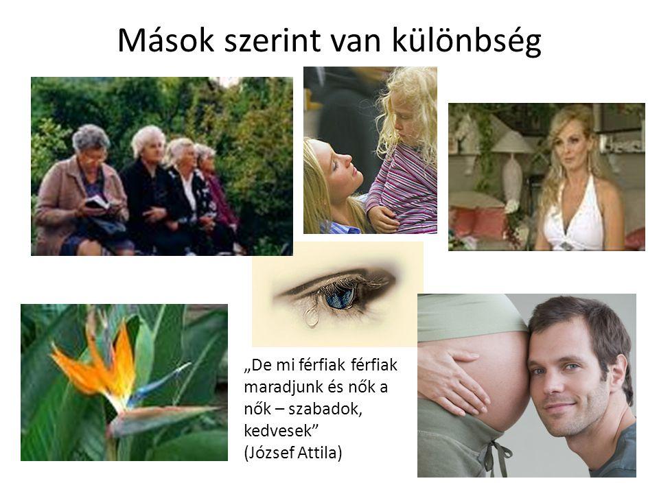 """Mások szerint van különbség """"De mi férfiak férfiak maradjunk és nők a nők – szabadok, kedvesek"""" (József Attila)"""