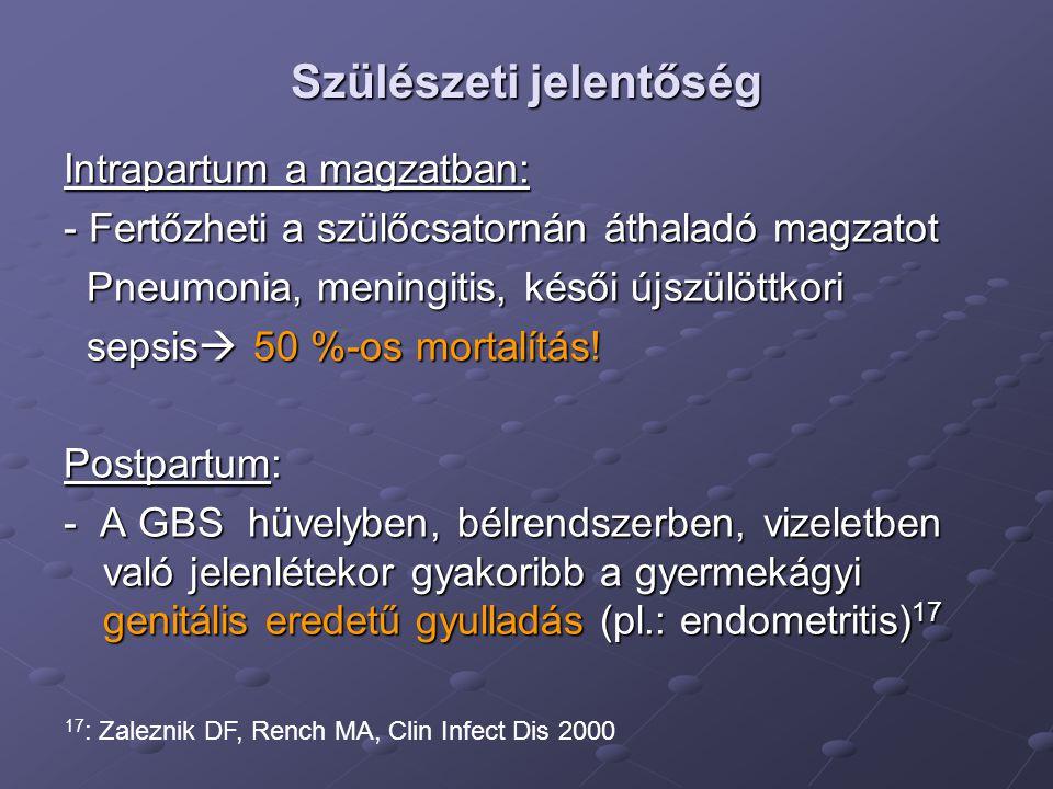 Szövődmények prevenciója Tünetmentes bacteriuria kezelése terheségben (vizelettenyésztés, antibiogram) Amoxicillin, Ampicillin – nem teratogén Hüvelyváladék tenésztése GBS-re a 35-36.