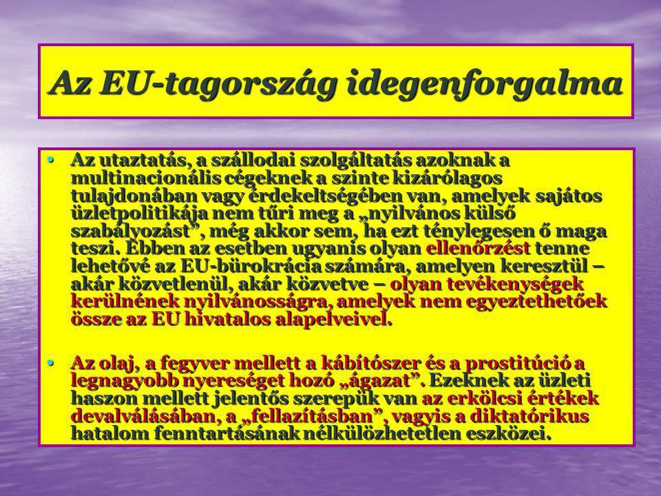 """Az EU-tagország idegenforgalma Az utaztatás, a szállodai szolgáltatás azoknak a multinacionális cégeknek a szinte kizárólagos tulajdonában vagy érdekeltségében van, amelyek sajátos üzletpolitikája nem tűri meg a """"nyilvános külső szabályozást , még akkor sem, ha ezt ténylegesen ő maga teszi."""