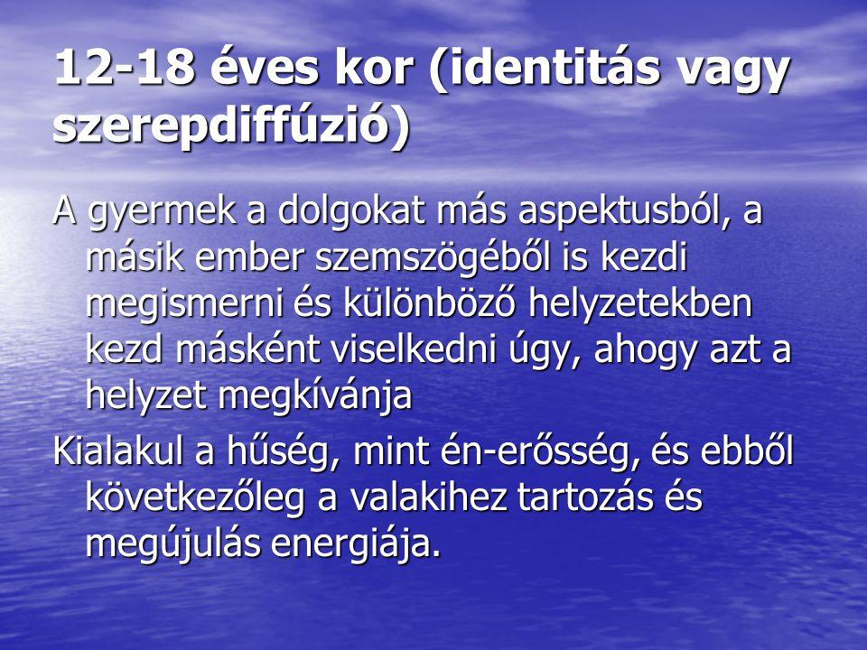 12-18 éves kor (identitás vagy szerepdiffúzió) A gyermek a dolgokat más aspektusból, a másik ember szemszögéből is kezdi megismerni és különböző helyz