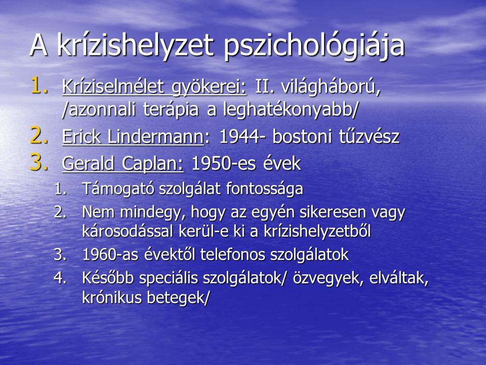 A krízishelyzet pszichológiája 1. Kríziselmélet gyökerei: II. világháború, /azonnali terápia a leghatékonyabb/ 2. Erick Lindermann: 1944- bostoni tűzv