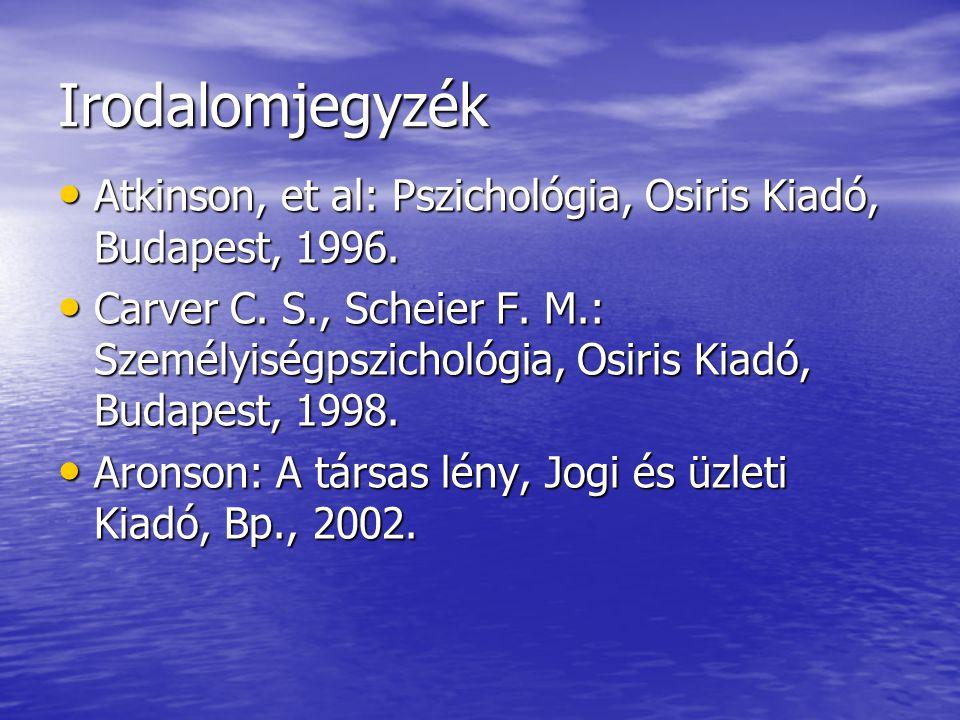 Irodalomjegyzék Atkinson, et al: Pszichológia, Osiris Kiadó, Budapest, 1996. Atkinson, et al: Pszichológia, Osiris Kiadó, Budapest, 1996. Carver C. S.
