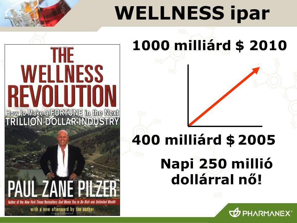 1000 milliárd $ 2010 400 milliárd $ 2005 Napi 250 millió dollárral nő! WELLNESS ipar