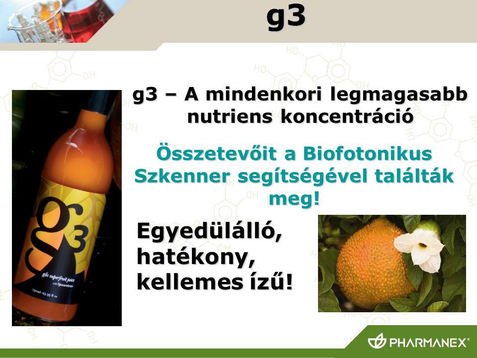 g3 g3 – A mindenkori legmagasabb nutriens koncentráció Összetevőit a Biofotonikus Szkenner segítségével találták meg! Egyedülálló, hatékony, kellemes