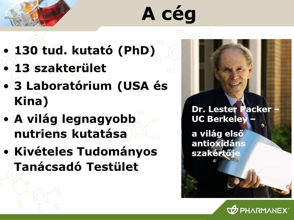 A cég 130 tud. kutató (PhD) 13 szakterület 3 Laboratórium (USA és Kina) A világ legnagyobb nutriens kutatása Kivételes Tudományos Tanácsadó Testület D