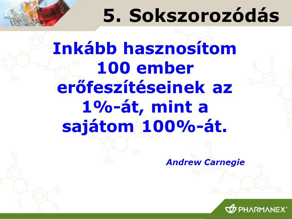 5. Sokszorozódás Inkább hasznosítom 100 ember erőfeszítéseinek az 1%-át, mint a sajátom 100%-át. Andrew Carnegie