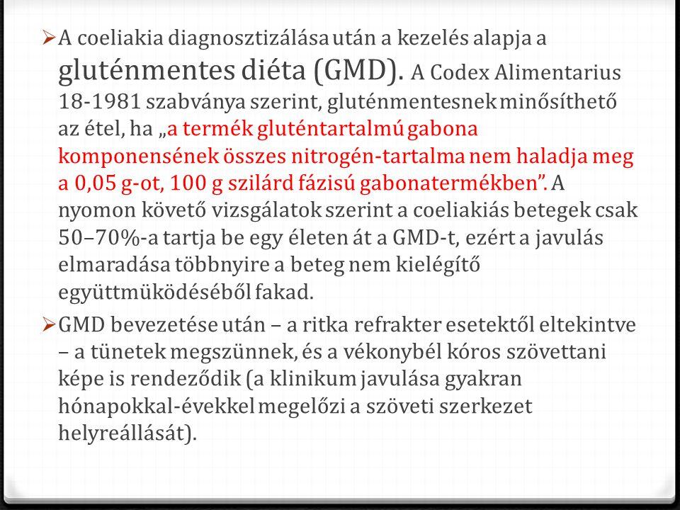 A coeliakia diagnosztizálása után a kezelés alapja a gluténmentes diéta (GMD). A Codex Alimentarius 18-1981 szabványa szerint, gluténmentesnek minős