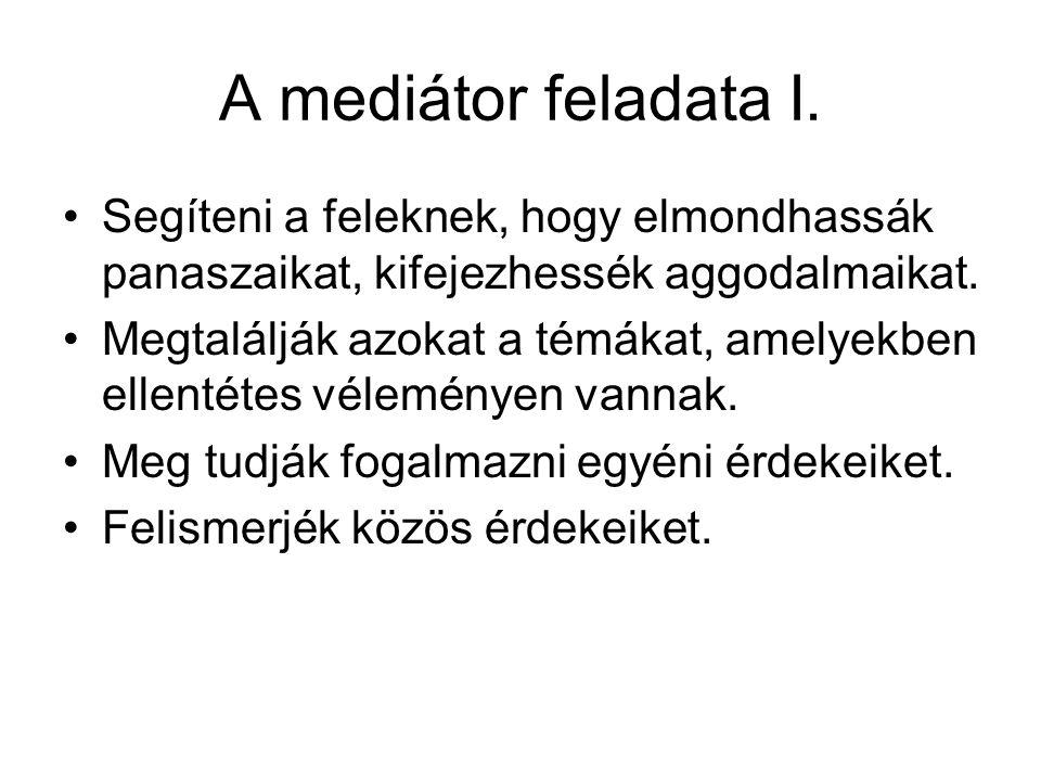 A mediátor feladata I. Segíteni a feleknek, hogy elmondhassák panaszaikat, kifejezhessék aggodalmaikat. Megtalálják azokat a témákat, amelyekben ellen