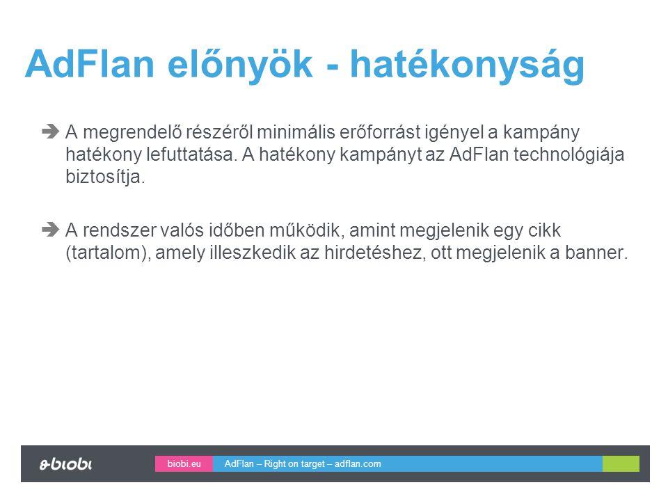 biobi.eu AdFlan előnyök - hatékonyság  A megrendelő részéről minimális erőforrást igényel a kampány hatékony lefuttatása.