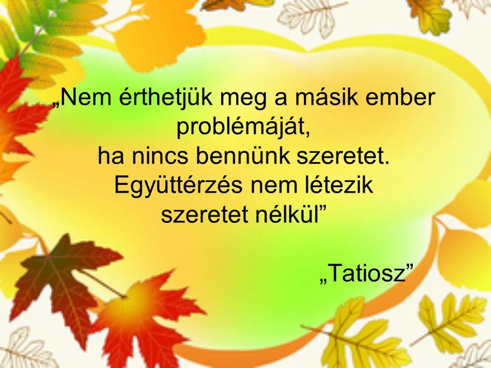 """""""Nem érthetjük meg a másik ember problémáját, ha nincs bennünk szeretet. Együttérzés nem létezik szeretet nélkül"""" """"Tatiosz"""""""