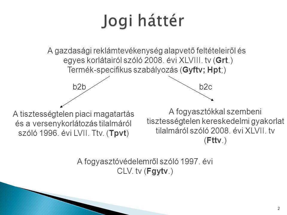 2 A fogyasztókkal szembeni tisztességtelen kereskedelmi gyakorlat tilalmáról szóló 2008. évi XLVII. tv (Fttv.) A tisztességtelen piaci magatartás és a