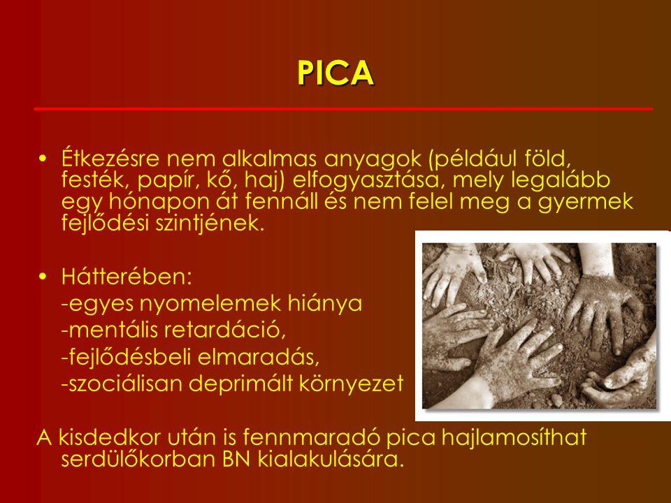ÉTEL-ELUTASÍTÁSSAL JÁRÓ ÉRZELEMZAVAR (food avoidance emotional disorder) Higgs, 1989 8-12 éves korosztály az étel/étkezés elutasítása súlycsökkenés hangulatzavar tünetei nincs testképzavar nincs organikus károsodás, pszichózis, droghasználat vagy gyógyszermellékhatás miatt kialakuló étvágytalanság gyakran nagyon rossz fizikális állapot alulfejlettség a nem-evés kommunikációs eszköz gyakori iskolai hiányzások