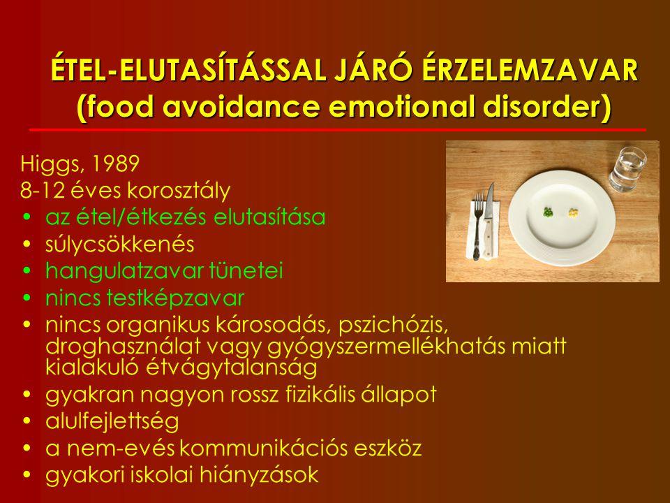 SZELEKTÍV EVÉS Lask, 2007 beszűkült spektrumú táplálkozás (10-nél kevesebb fajta étel) legalább 1 évig új ételek fogyasztásának megtagadása a gyermek nem fogyaszt az életkorának megfelelő ételrepertoárt nincs testképzavar nincs túlzott foglalkozás a testsúllyal, alakkal nem áll fenn félrenyeléstől, hányástól való félelem az étel elkerülése nem magyarázható fizikális betegséggel a testsúly nem jellemző; a gyermek lehet sovány, normális alkatú vagy túlsúlyos