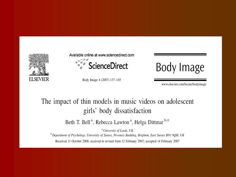 Zenei videók (Video klippek) Jelentősen befolyásolják a fiatalok életérzését, gondolatait (Roberts és mtsai 2004) Agressziót, erőszakot provokálnak (Brown 2002, Ward 2005) Alkohol, drog használatot elősegítik (Van der Bulk 2006) Testképzavar.