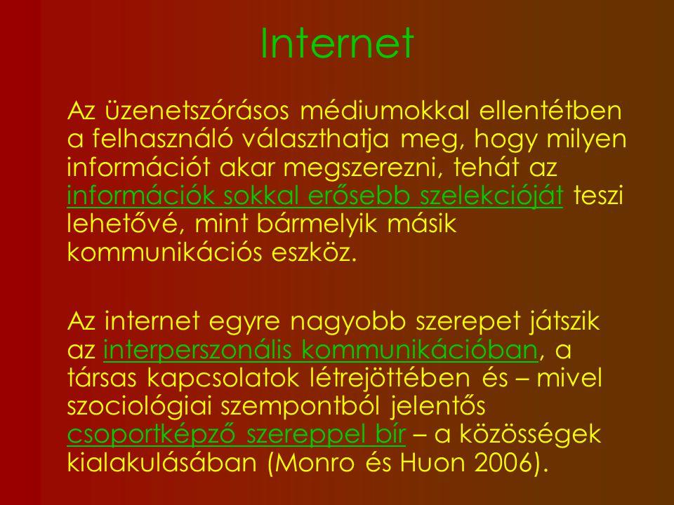 """Internet gyors és egyszerű hozzáférés a legfontosabb információforrás a fiatal korosztályok számára alkalmas felületet kínál a """"megmutatkozásra is a saját környezetüktől elszigetelt, magányos fiatalok számára az online kommunikáció lehetővé teszi a csoporthoz való kapcsolódást PRO-ANA, PRO-MIA, PRO-ED oldalak kialakul á sa"""