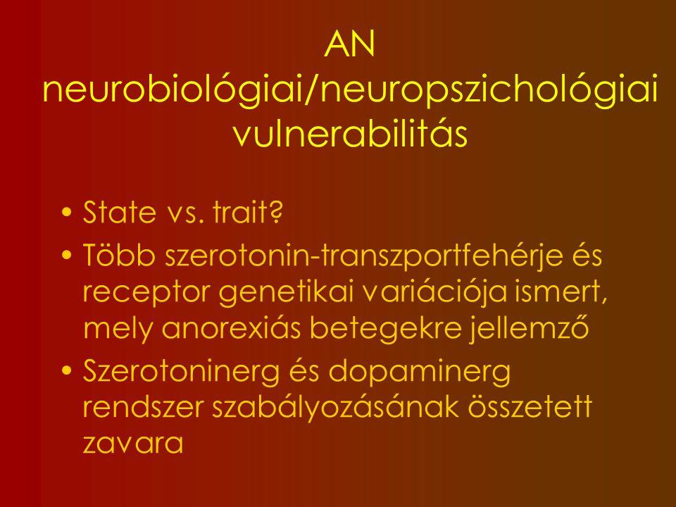 Kognitív deficit AN-ban 66% -75% 1) Kognitív rigiditás (switching) 2) Vizuális téri képességek elmaradása 3) Centrál koherencia gyengesége