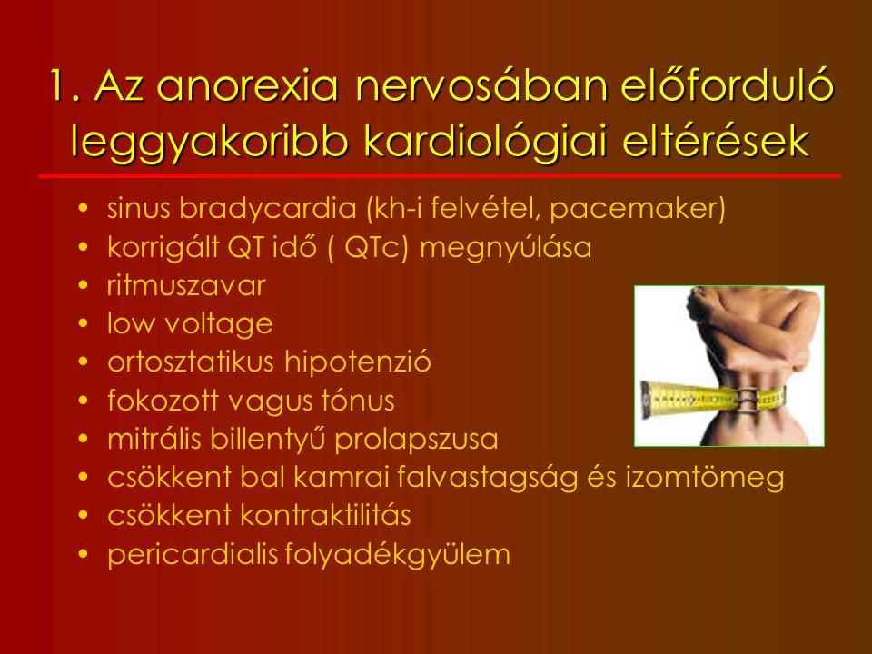 1. Az anorexia nervosában előforduló leggyakoribb kardiológiai eltérések sinus bradycardia (kh-i felvétel, pacemaker) korrigált QT idő ( QTc) megnyúlá