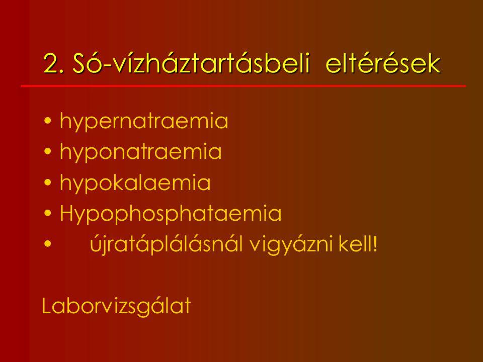 2. Só-vízháztartásbeli eltérések hypernatraemia hyponatraemia hypokalaemia Hypophosphataemia újratáplálásnál vigyázni kell ! Laborvizsgálat