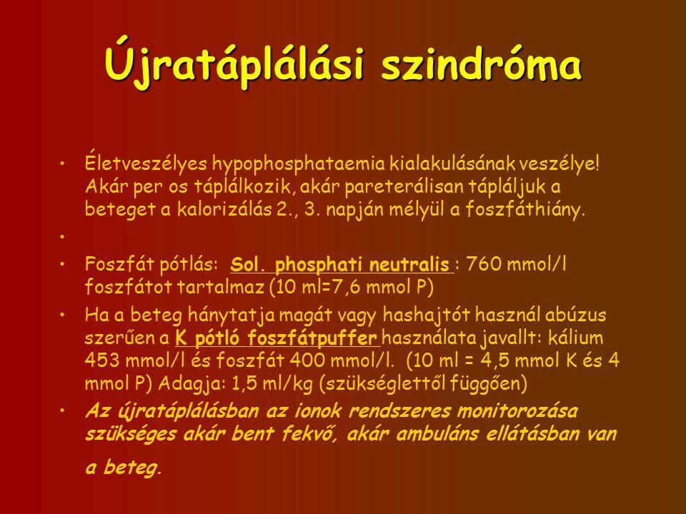 Újratáplálási szindróma Életveszélyes hypophosphataemia kialakulásának veszélye! Akár per os táplálkozik, akár pareterálisan tápláljuk a beteget a kal