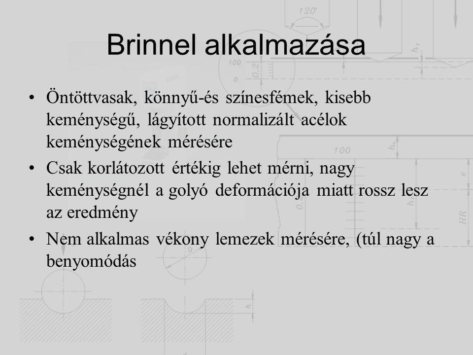 Brinnel alkalmazása Öntöttvasak, könnyű-és színesfémek, kisebb keménységű, lágyított normalizált acélok keménységének mérésére Csak korlátozott értéki