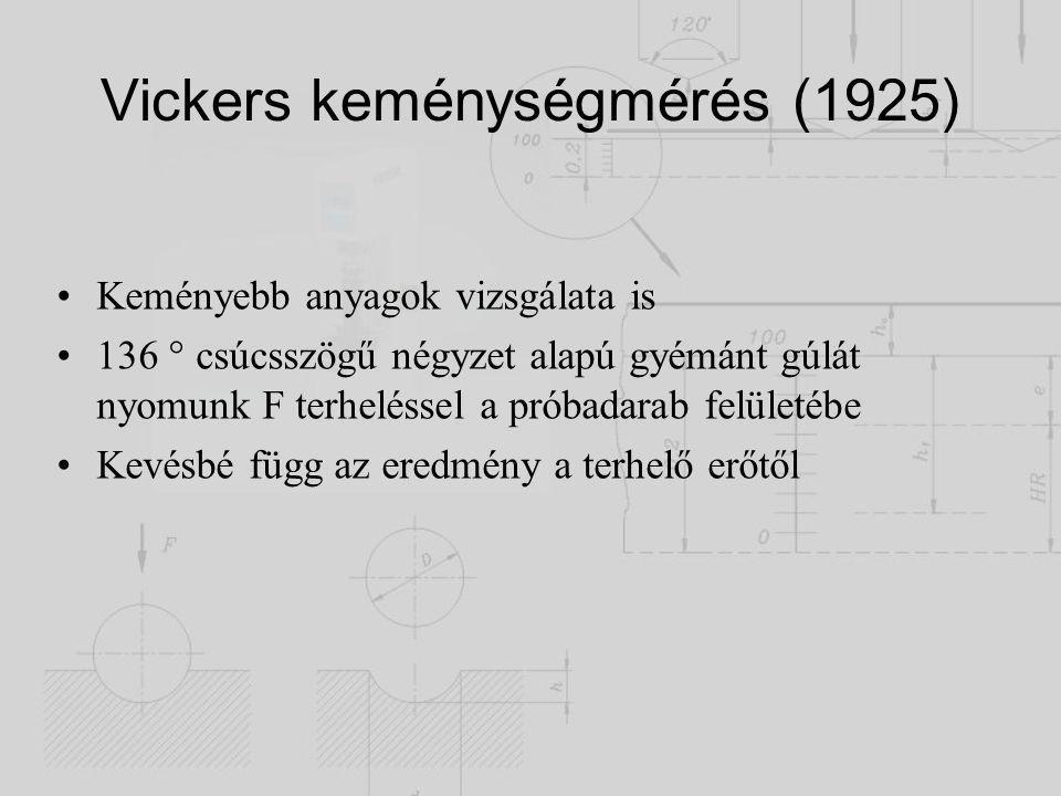 Vickers keménységmérés (1925) Keményebb anyagok vizsgálata is 136  csúcsszögű négyzet alapú gyémánt gúlát nyomunk F terheléssel a próbadarab felületé