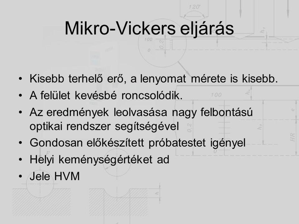 Mikro-Vickers eljárás Kisebb terhelő erő, a lenyomat mérete is kisebb. A felület kevésbé roncsolódik. Az eredmények leolvasása nagy felbontású optikai