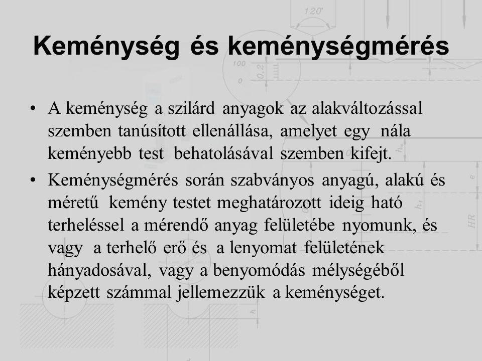 Brinnel (1900) Statikus keménységmérés Keményre edzett acélgolyó benyomása; Átm.