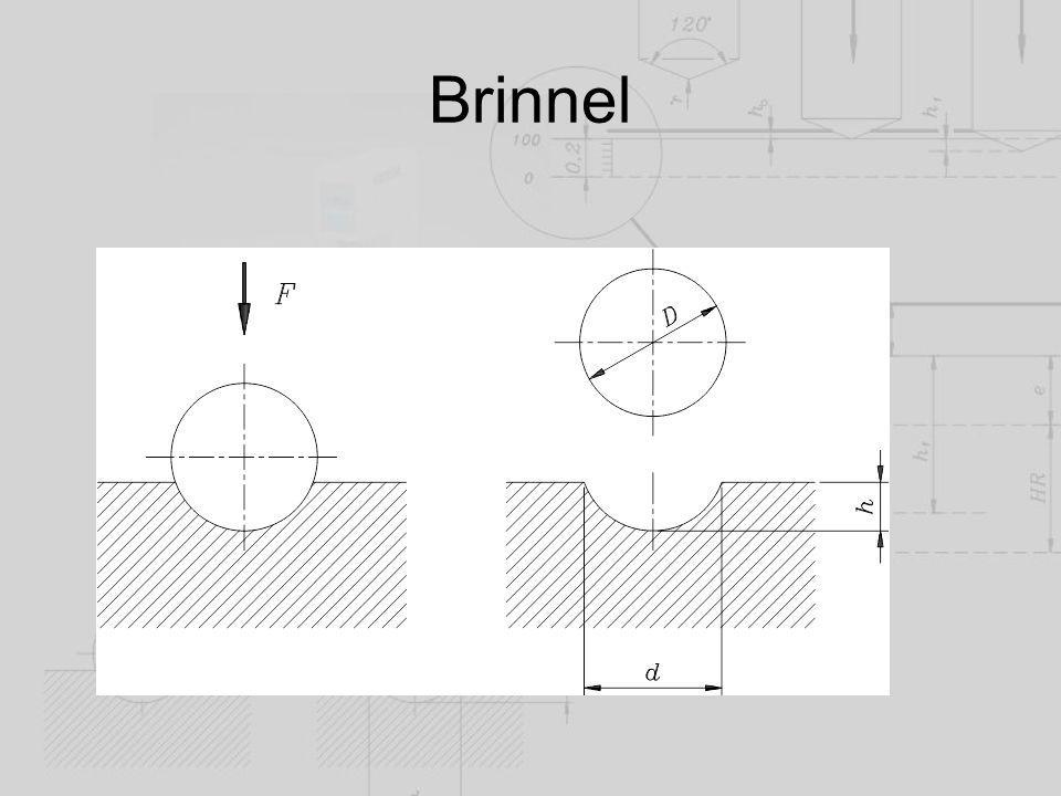 Brinnel keménység Jele: HB A gömbsüveg felülete D  h F terhelő erő és a lenyomat felületének hányadosát értjük.