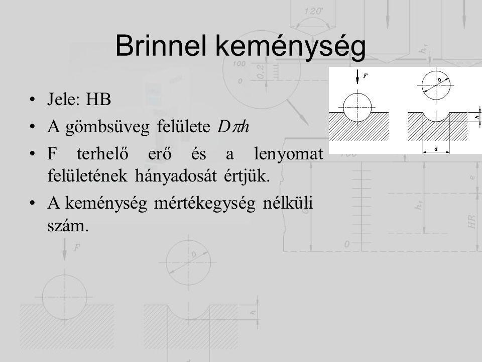 Brinnel keménység Jele: HB A gömbsüveg felülete D  h F terhelő erő és a lenyomat felületének hányadosát értjük. A keménység mértékegység nélküli szám