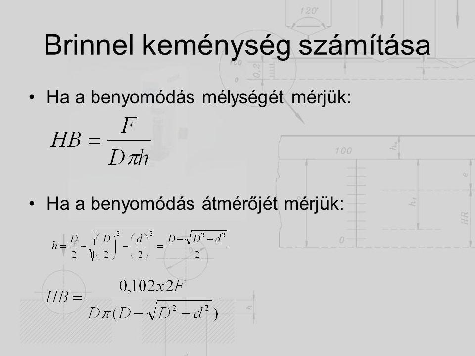 Brinnel keménység számítása Ha a benyomódás mélységét mérjük: Ha a benyomódás átmérőjét mérjük: