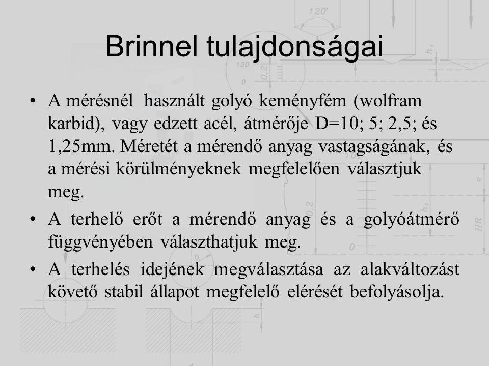 Brinnel tulajdonságai A mérésnél használt golyó keményfém (wolfram karbid), vagy edzett acél, átmérője D=10  5  2,5  és 1,25mm. Méretét a mérendő a