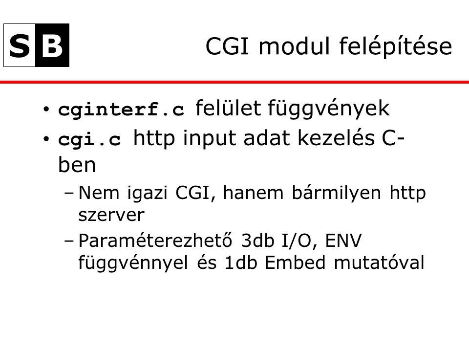 SB CGI modul felépítése cginterf.c felület függvények cgi.c http input adat kezelés C- ben –Nem igazi CGI, hanem bármilyen http szerver –Paraméterezhető 3db I/O, ENV függvénnyel és 1db Embed mutatóval