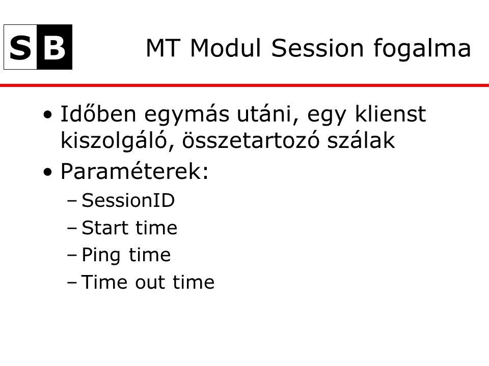 SB MT Modul Session fogalma Időben egymás utáni, egy klienst kiszolgáló, összetartozó szálak Paraméterek: –SessionID –Start time –Ping time –Time out time