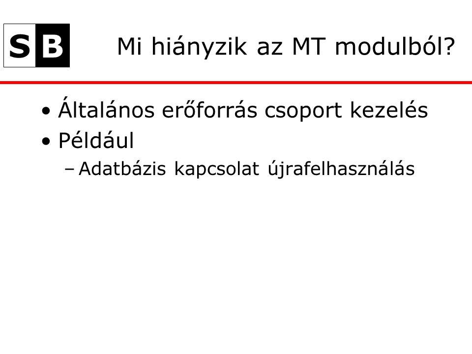 SB Mi hiányzik az MT modulból? Általános erőforrás csoport kezelés Például –Adatbázis kapcsolat újrafelhasználás