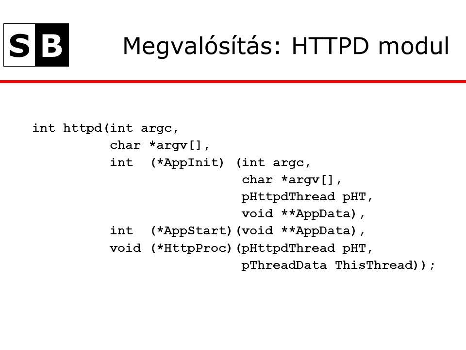 SB Megvalósítás: HTTPD modul int httpd(int argc, char *argv[], int (*AppInit) (int argc, char *argv[], pHttpdThread pHT, void **AppData), int (*AppStart)(void **AppData), void (*HttpProc)(pHttpdThread pHT, pThreadData ThisThread));