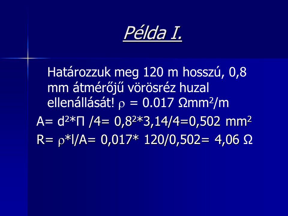 Példa I. Határozzuk meg 120 m hosszú, 0,8 mm átmérőjű vörösréz huzal ellenállását!  = 0.017 Ωmm 2 /m /4= 0,8 2 *3,14/4=0,502 mm 2 A= d 2 *Π /4= 0,8 2