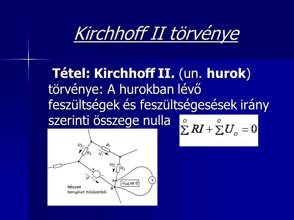 Kirchhoff II törvénye Tétel: Kirchhoff II. (un. hurok) törvénye: A hurokban lévő feszültségek és feszültségesések irány szerinti összege nulla