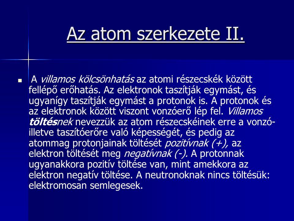 Az atom szerkezete II. A villamos kölcsönhatás az atomi részecskék között fellépő erőhatás. Az elektronok taszítják egymást, és ugyanígy taszítják egy